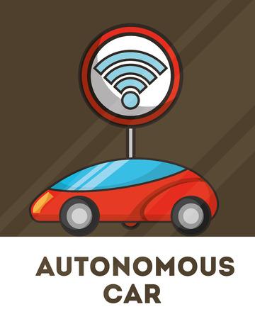 autonomous car post signal sign vector illustration Illustration