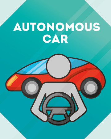 autonomous car male driving motorcar steering wheel vector illustration