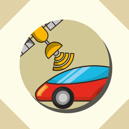 autonomous car circle satelite signal vector illustration