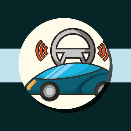 autonomous car sticker motorcar steering wheel signal vector illustration Illustration
