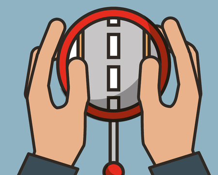 hands touching screen smartphone street driving ubication flag vector illustration