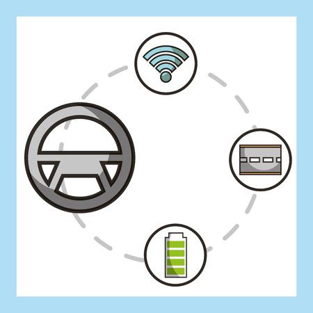 autonomous car steering wheel stickers battery street signal vector illustration Illustration