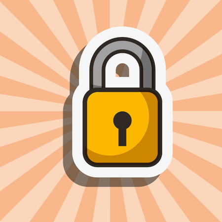 colors background padlock save security vector illustration