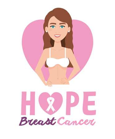 woman figure with breast cancer vector illustration design 向量圖像
