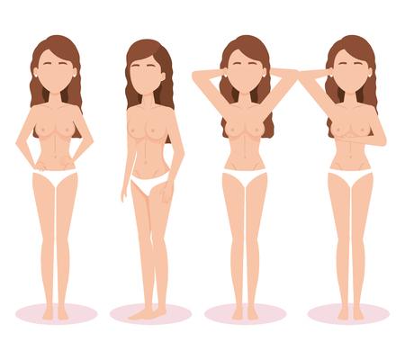 women figures with breast cancer test vector illustration design Illustration