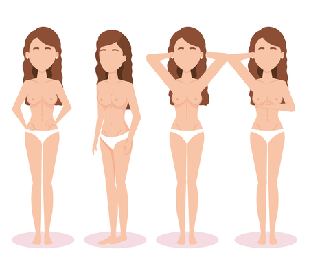 women figures with breast cancer test vector illustration design Çizim