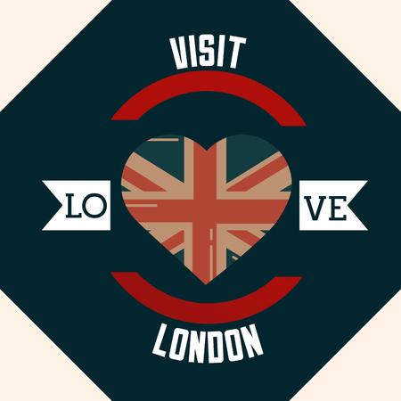 love visit london sticker sign heart flag vector illustration Illustration