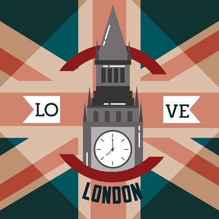 love visit london big ben ribbon sign circle vector illustration Иллюстрация
