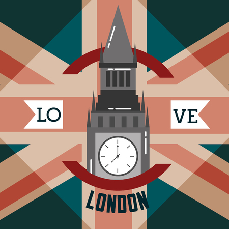 love visit london big ben ribbon sign circle vector illustration Illustration