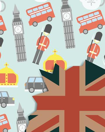 love visit london british soldiers car big ben double decker grunge flag style background vector illustration