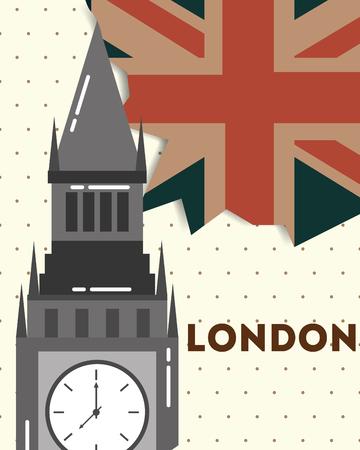 love visit london big ben grunge flag sign vector illustration