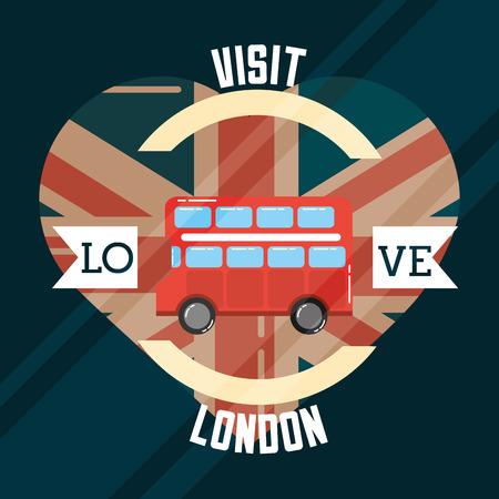 Liebesbesuch London Herz Flagge Doppeldecker Band Zeichen Vektor Illustration
