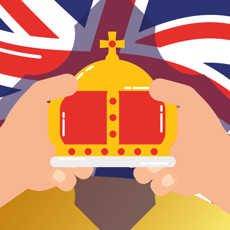 love visit london hands holding crown queen wave flag background vector illustration Ilustrace