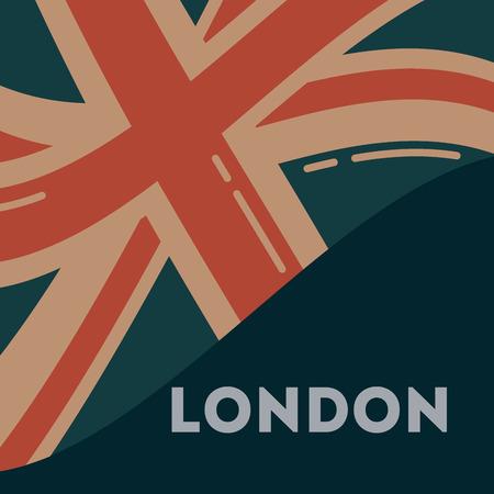 hou van bezoek Londen golfvlag teken achtergrond vectorillustratie