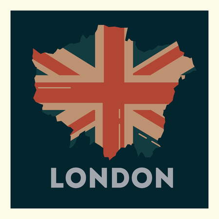 love visit london grunge flag style frame vector illustration Иллюстрация