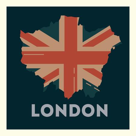 love visit london grunge flag style frame vector illustration Illustration