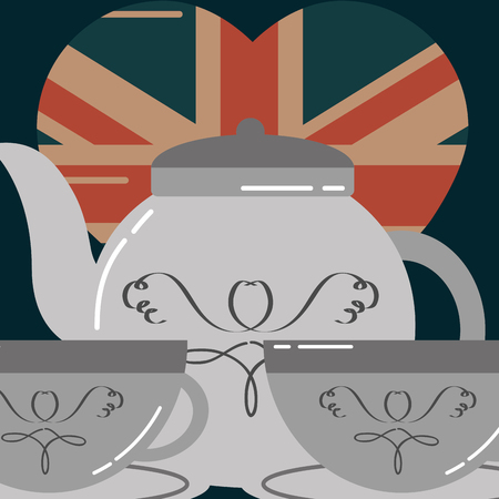 love visit london cups of tea heart flag vector illustration