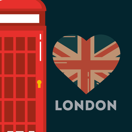 love visit london telephone box heart flag sign vector illustration