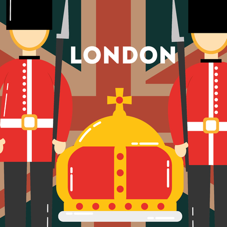 love visit london british soldiers crown queen vector illustration