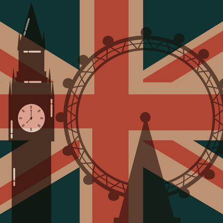 love visit london eye big ben attraction flag background vector illustration