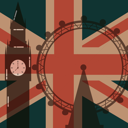 love visit london eye big ben attraction flag background vector illustration