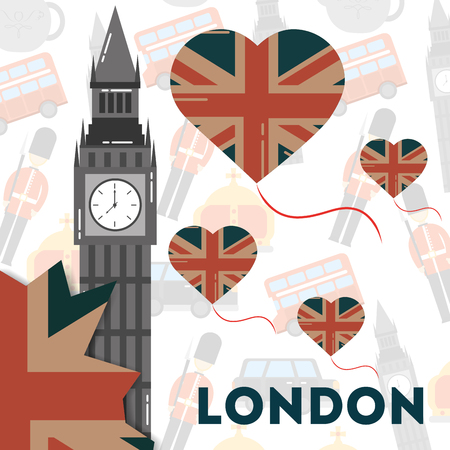 love visit london hearts balloons flags big ben sign vector illustration Illustration