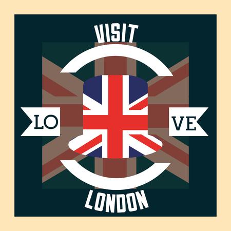 love visit london ribbon sign circle flag vector illustration