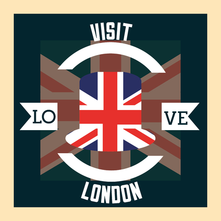 love visit london ribbon sign circle flag vector illustration