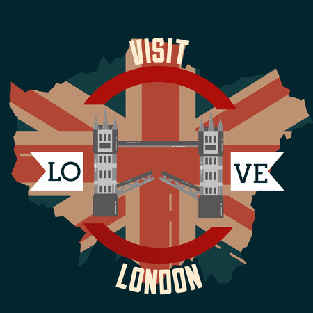 love visit london tower bridge grunge flag vector illustration