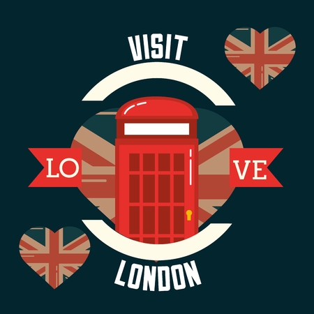 love visit london telephone box hearts flag vector illustration