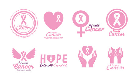 breast cancer set icons vector illustration design