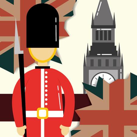 love visit london british soldier big ben grunge leaves flag vector illustration