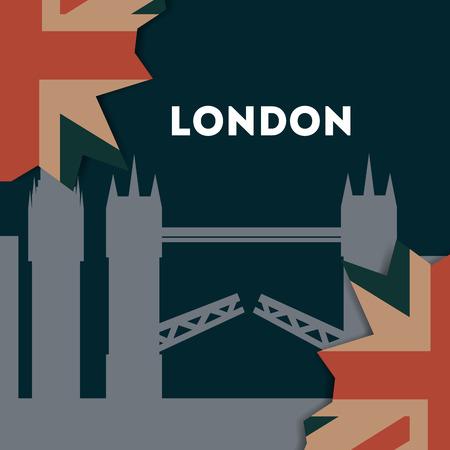 love visit london tower bridge leaves flag vector illustration