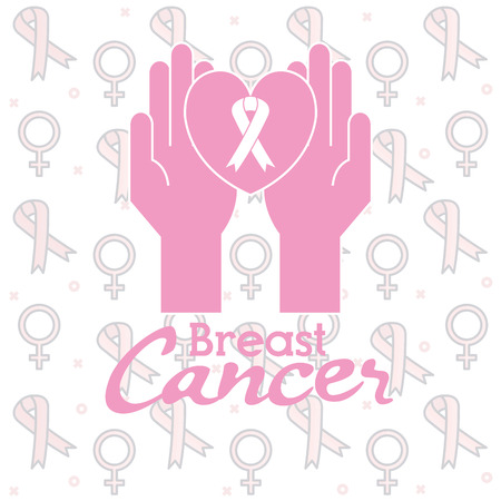 hands with ribbon breast cancer vector illustration design Ilustracja