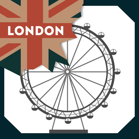 love visit london eye grunge flag sign vector illustration