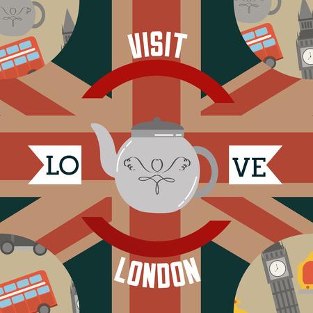 love visit london cup of tea ribbon sign flag big ben double decker background vector illustration Stock Illustratie