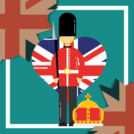 love visit london british soldier heart flag crown queen vector illustration Archivio Fotografico - 107420685