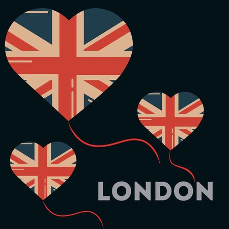 love visit london hearts balloons flag vector illustration Иллюстрация