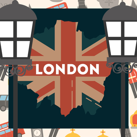 love visit london lamps frame grunge flag style sign vector illustration