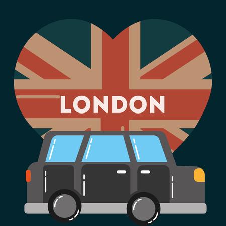 love visit london car transportation heart flag sign vector illustration Illustration