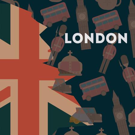love visit london grunge style flag double decker big ben crown queen background vector illustration Stock Illustratie