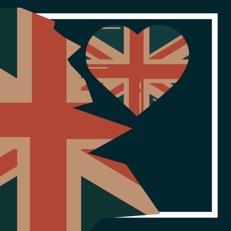 love visit london frame heart flag vector illustration Illustration