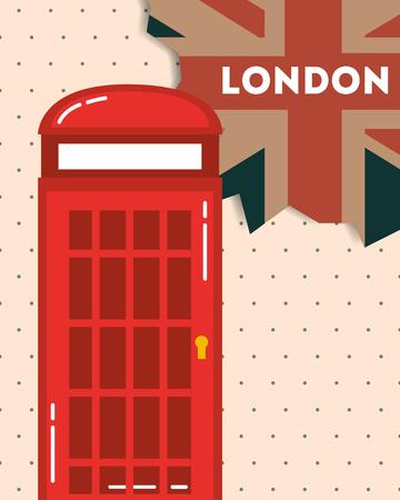 love visit london telephone box retro flag dotted background vector illustration