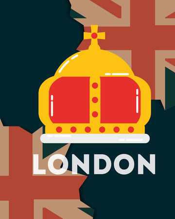 love visit london crown queen grunge flags background vector illustration