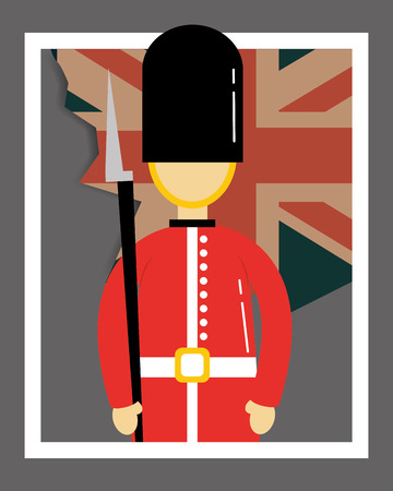 love visit london frame british soldier vntage flag vector illustration