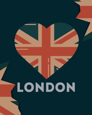 love visit london leaves heart flag vector illustration