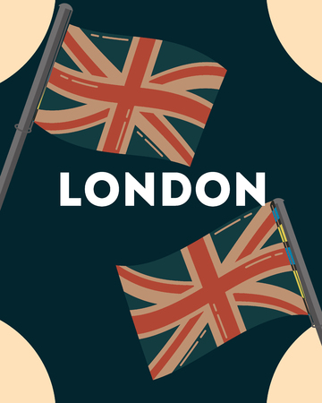 love visit london wave flags sign background vector illustration Foto de archivo - 110492893