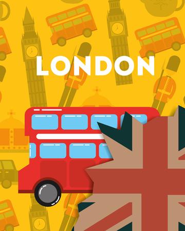 love visit london double decker grunge flag big ben british soldier background vector illustration
