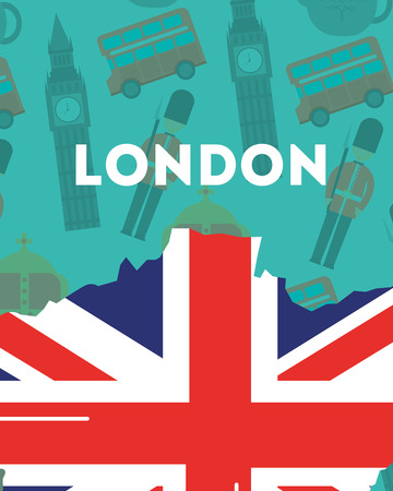 love visit london sign grunge flag style big ben crown background vector illustration Stock Illustratie