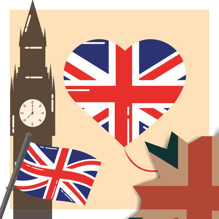 love visit london big ben heart balloon flags vecor illustration Иллюстрация